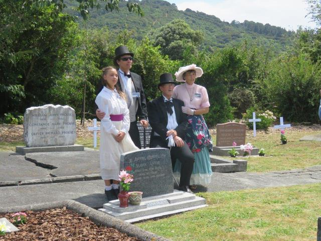 Gathering around the family grave